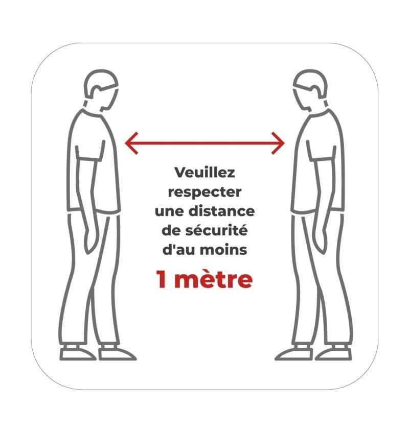 Sticker Pour Vitrine Prévention Distance De Sécurité 40X40 P8658 - STICKER 40X40