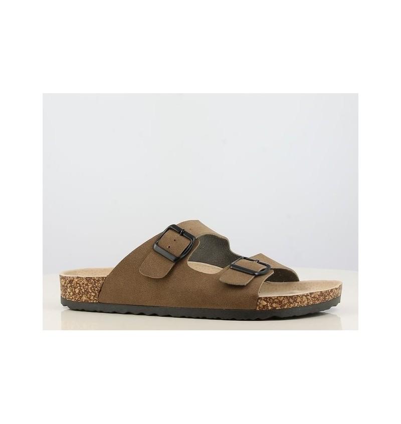 Sandales Deux Bandes Effet Daim 15B223500 - B2BMENSFASHION