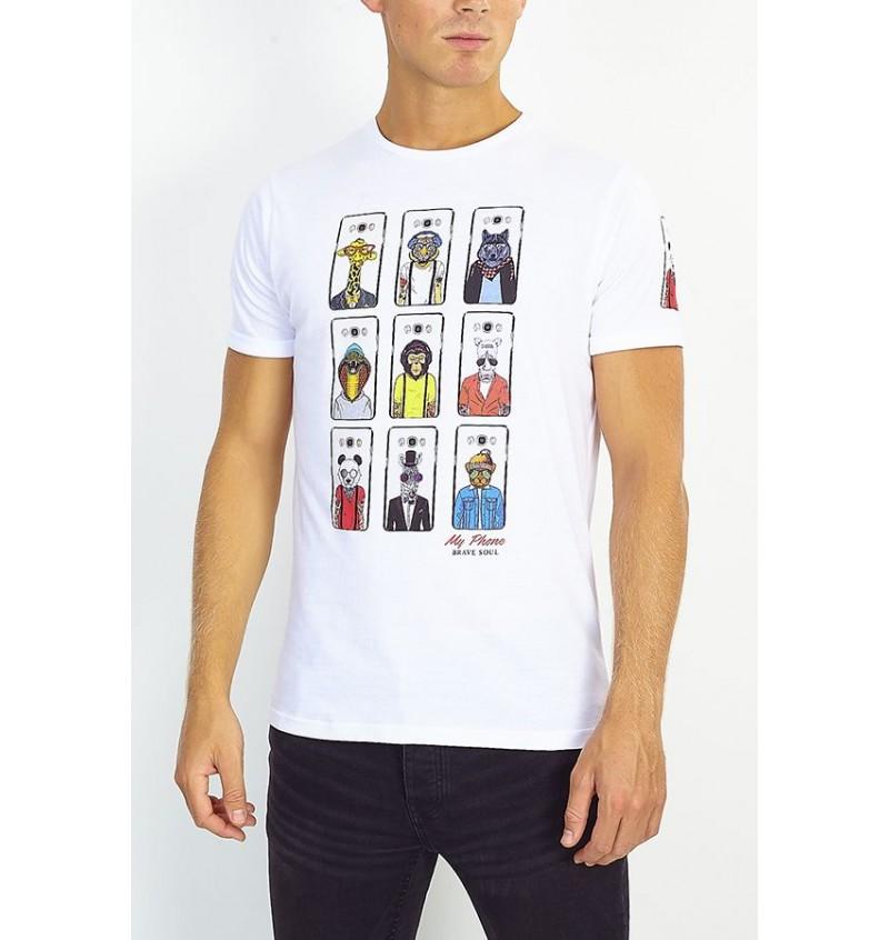Tee-shirt Animal Coque Téléphone MTS-149VINCENT - BRAVE SOUL