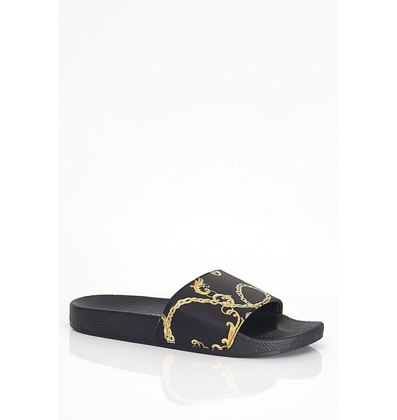 Sandale Imprimé Baroque Noir Effet Cuir MFW-PALAZZO- BRAVE SOUL
