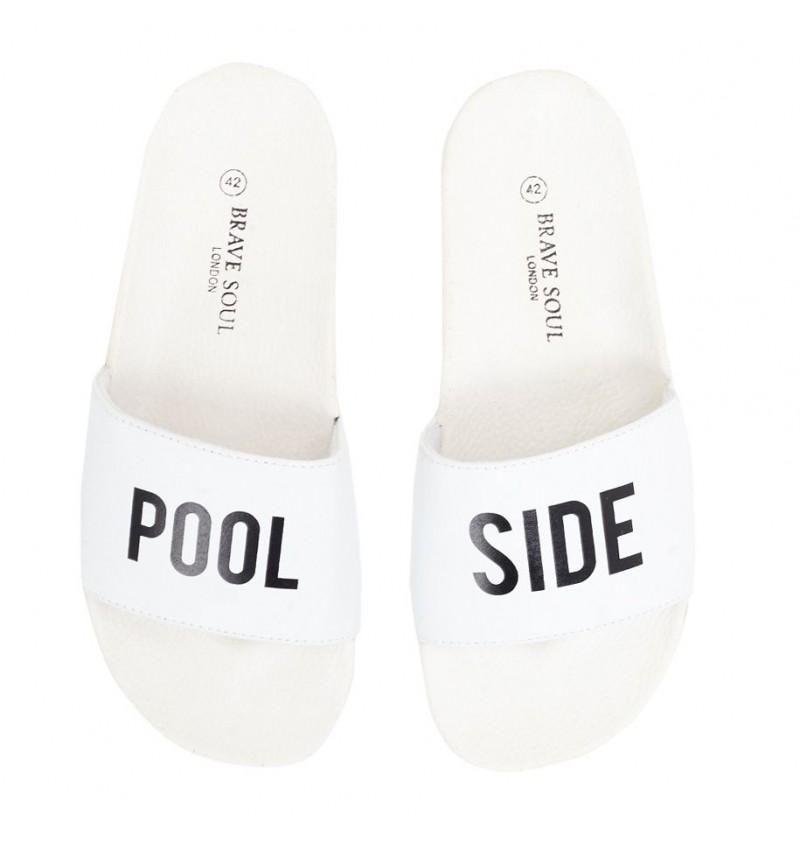 Sandale Blanc Imprimé POOL SIDE Effet Cuir MFW-POOLSIDE - BRAVE SOUL