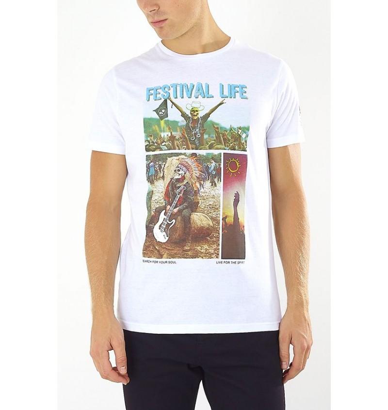 Tee-Shirt Imprimé Festival Life Skull MTS-149SKETCH - BRAVE SOUL