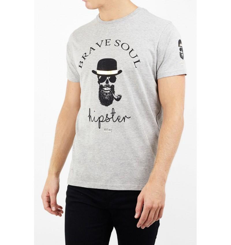 Tee-Shirt Imprimé Tête De Mort Hipster MTS-149MIDAS - BRAVE SOUL