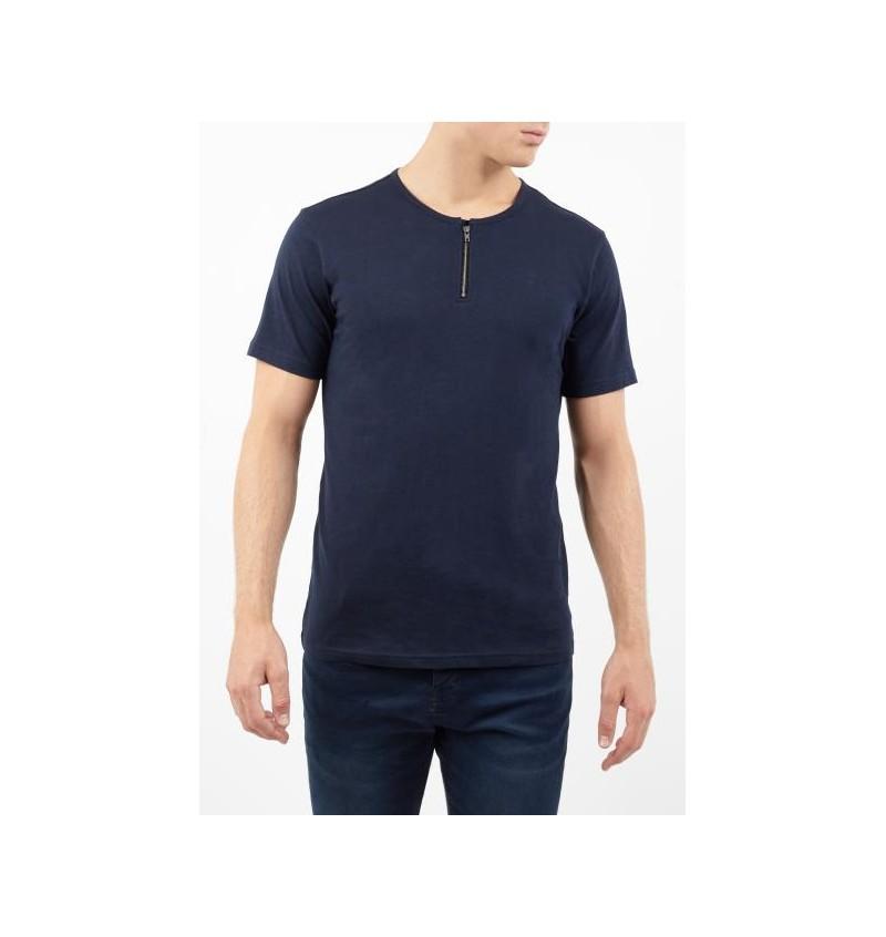 Tee-Shirt Uni Col Demi-zip MTS-69RUSSELLB - BRAVE SOUL