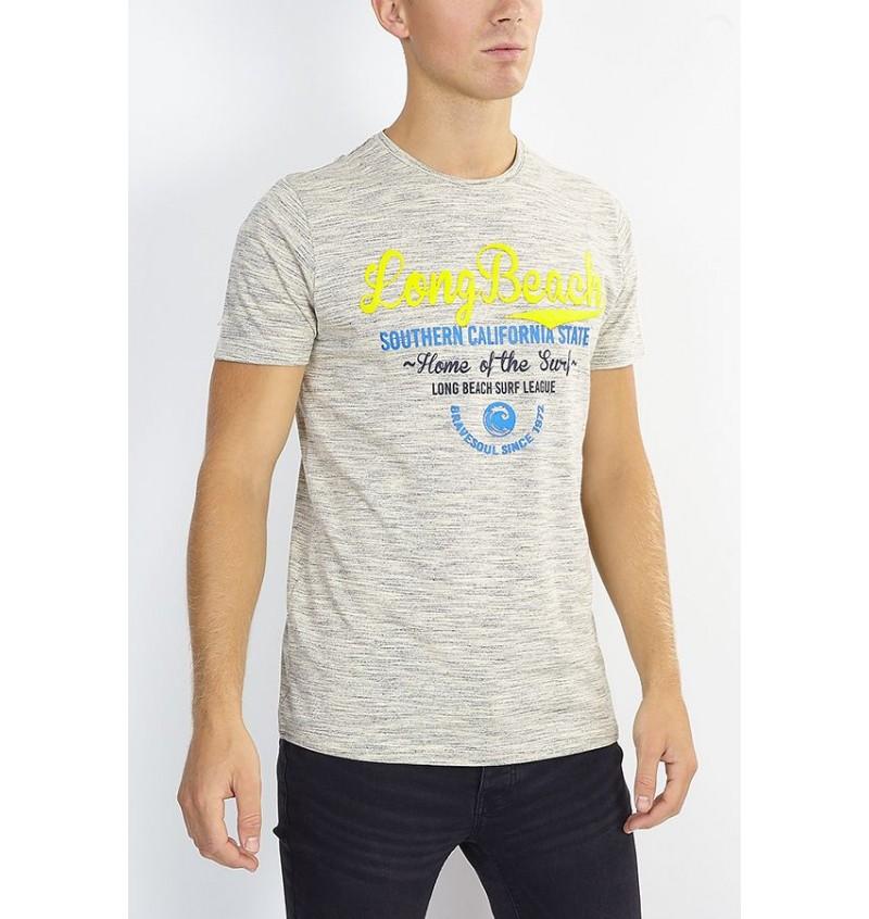 Tee-Shirt Imprimé Coton Slub MTS-568ISLAND - BRAVE SOUL