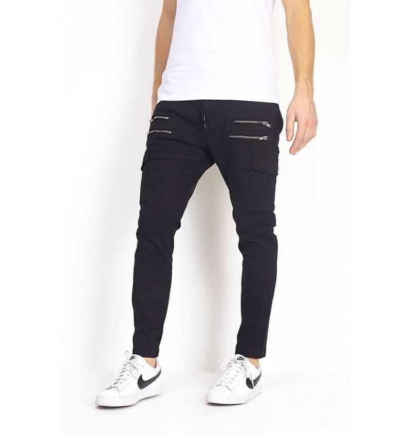 Pantalon Noir Multi-Poches Zip MTR-DIXON - BRAVE SOUL