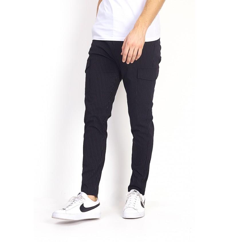 Pantalon Cargo Noir A Rayure Homme MTR-BUCKSTON - BRAVE SOUL
