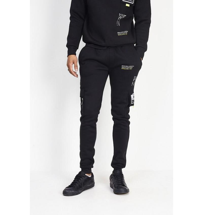 Pantalon Jogging Noir Empiècement  Réfléchissant MJB-516TECH - BRAVE SOUL