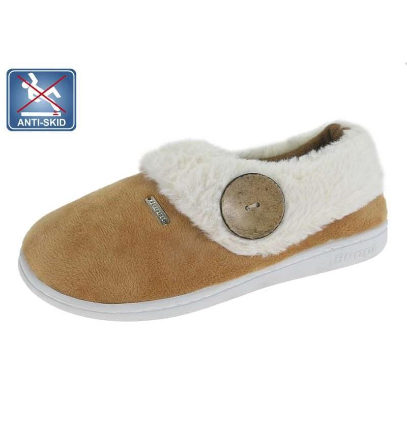 Chaussures D'intérieur Fourré Femme Camel BEP8 13B2181630 - BEPPI