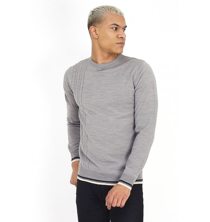 Pull Col Rond Rayures Au Col Et Manches BS1 MK-248BERTRAM - BRAVE SOUL