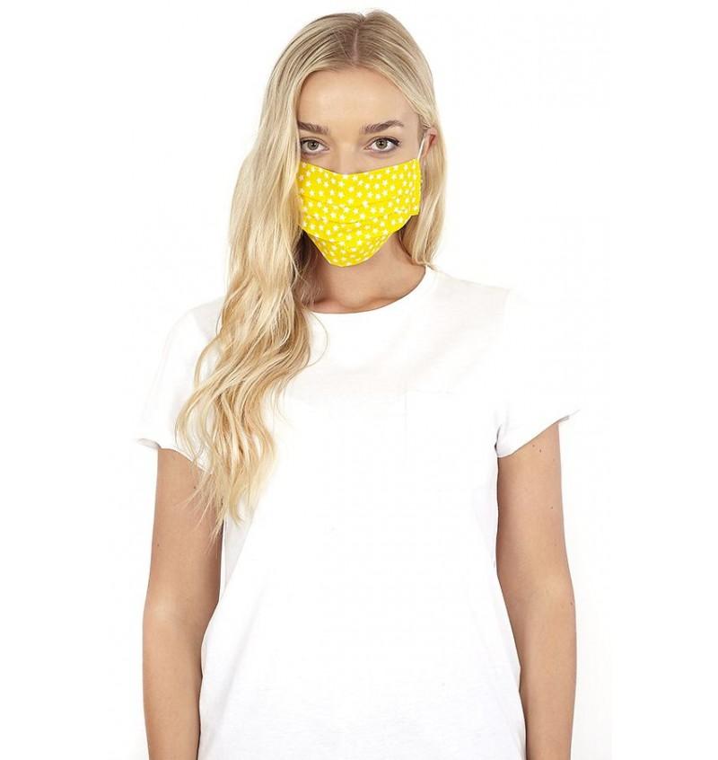 Masque Protection Femme Jaune Imprimé Etoile LMSK-272SONNY - BRAVE SOUL