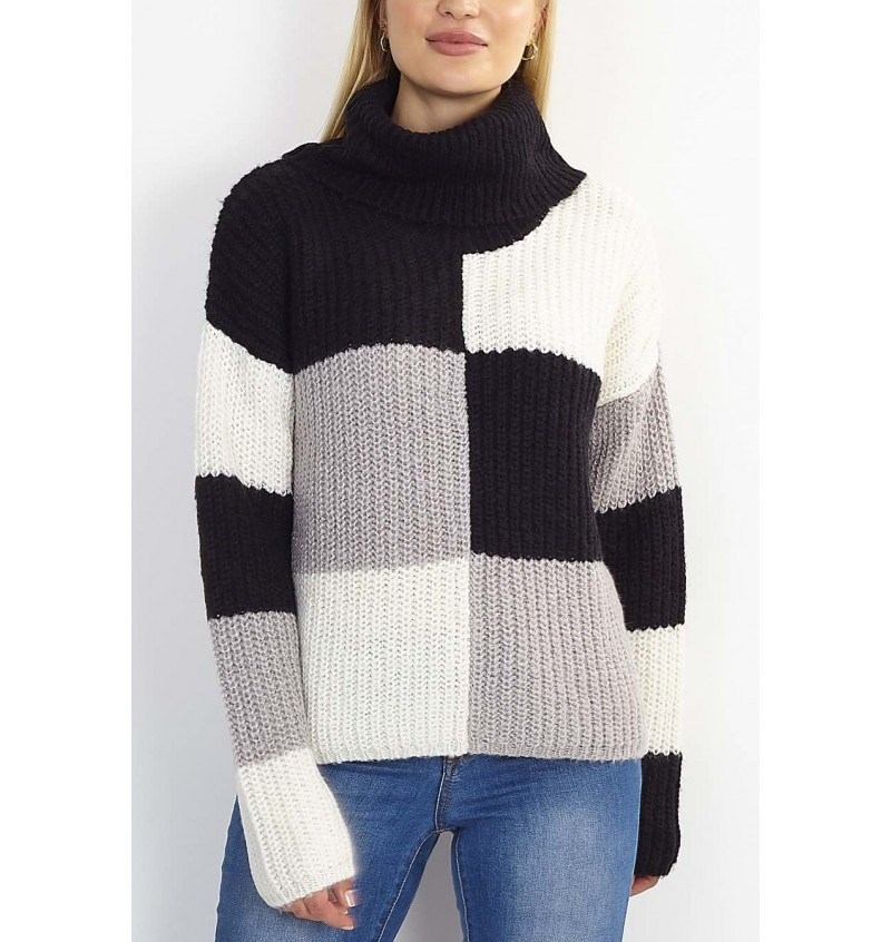 Pull Femme Col Roulé Damier LK-230CHEQUERS