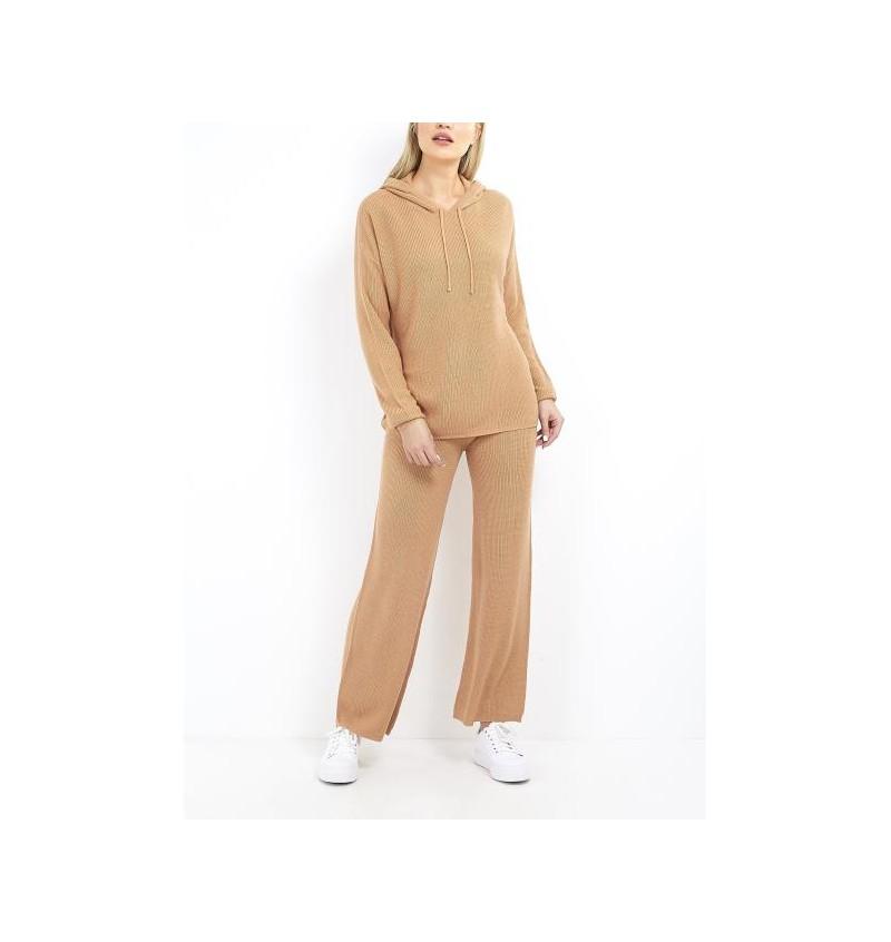 Ensemble Beige Pour Femme Tricoté Pull Capuche + Pantalon LSET-555HEIDID - BRAVE SOUL