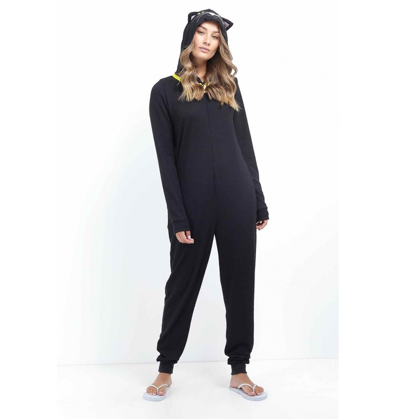 Combinaison Animal Chat Noir Pour Femme LON-463WHISKERS - BRAVE SOUL