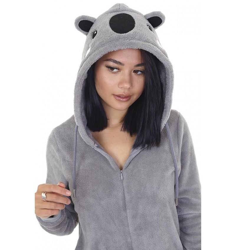 Combinaison Animal Koala Gris Pour Femme LON-463KOWALA - BRAVE SOUL