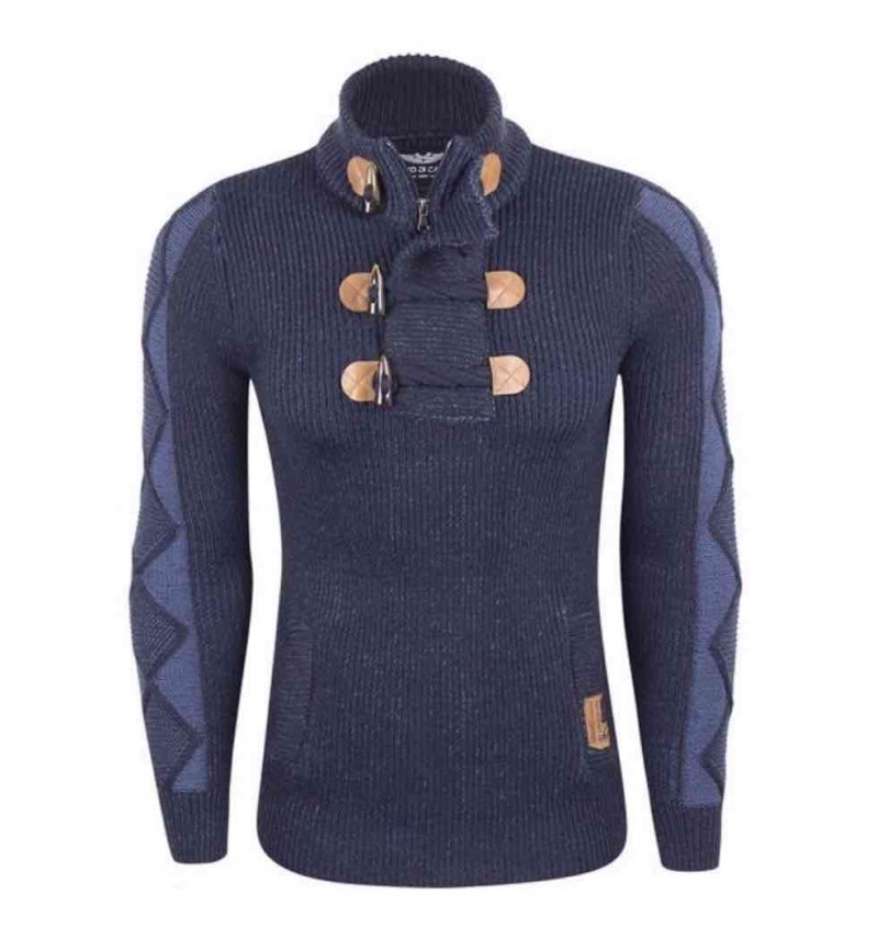 Pull Col Cheminé 1/2 Zip Grosse Maille Pour Homme EDC20 22/6397A - EDC