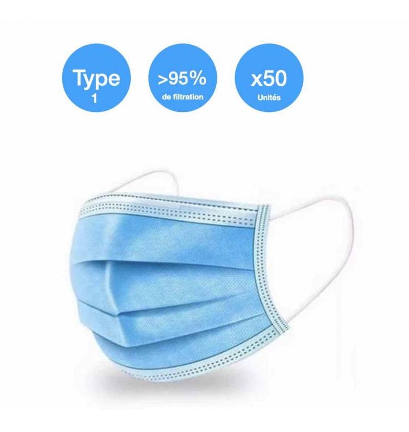 Masque Médical Chirurgical Type 1 EN14683 PAR 2000