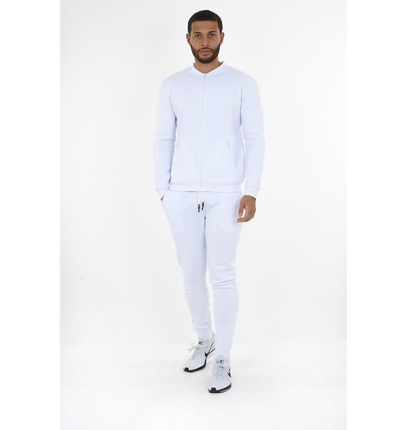 Ensemble Homme Jogging Pantalon + Gilet  Slim fit Blanc MJS-516GREYJOYE - BRAVE SOUL