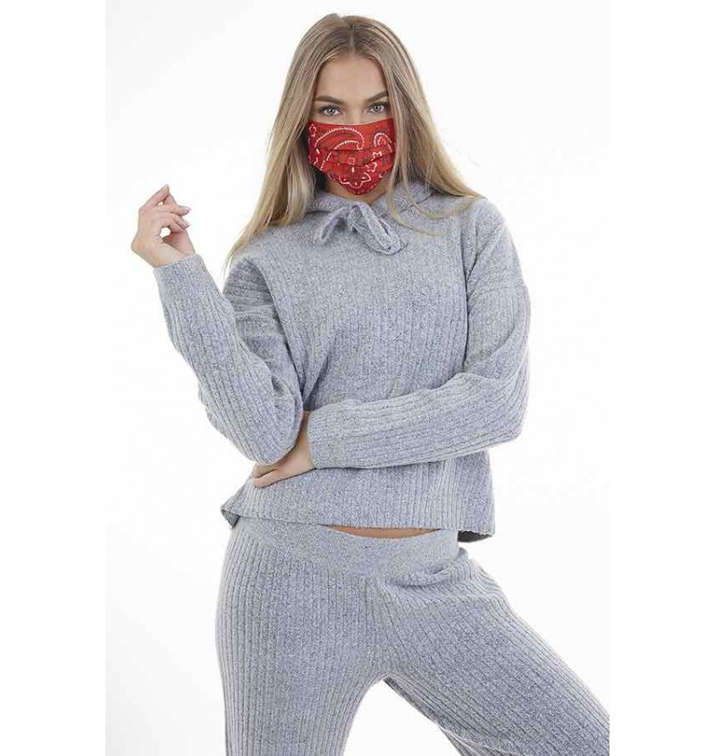 Masque Protection Femme Imprimé Bandana Rouge LMSK-272BANDRED - BRAVE SOUL