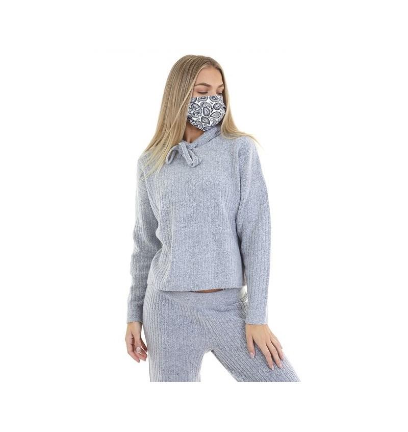 Masque Protection Femme Imprimé Bandana Blanc LMSK-272DANAB - BRAVE SOUL