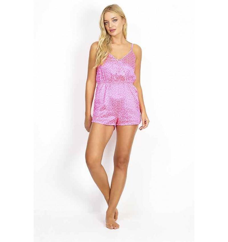 Combi Pyjama Femme En Satin Rose A Pois Blanc LPJ-548DOTTY - BRAVE SOUL
