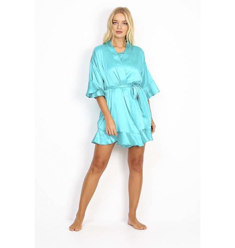 Kimono Femme En Satin Bleu Turquois LDG-548FLOUNCE - BRAVE SOUL