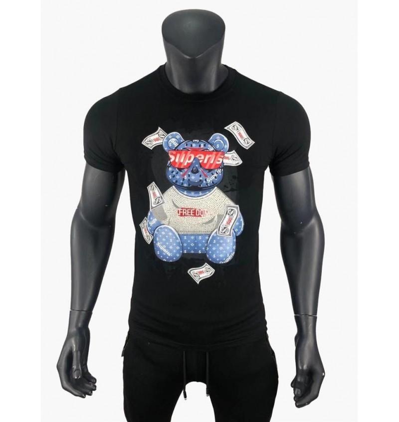 Tee-shirt Manche Corte Col Rond Impression Nounours 03/164T - B2BMENSFASHION