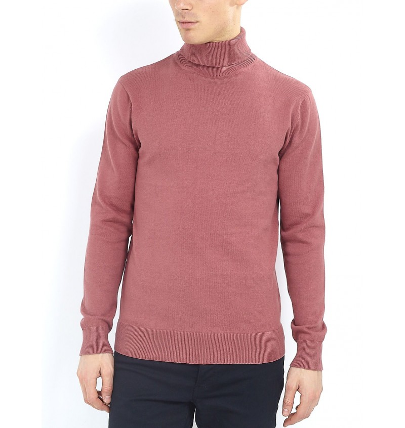 Pull Rose Col Roulé MK-230HUMEO - BRAVE SOUL