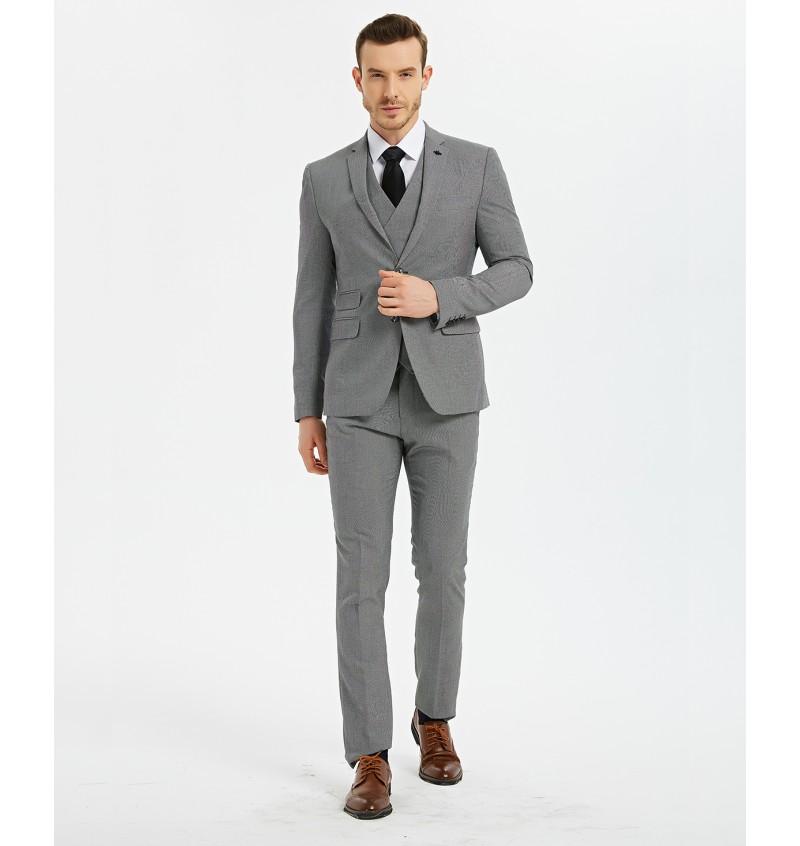 Costume cintré gris 2 pieces COS-213-LEONARDO - YVES ENZO