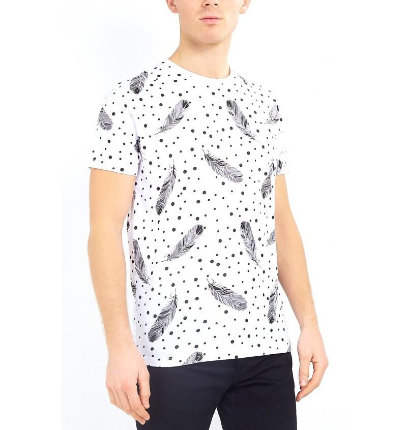 Tee-Shirt Imprimé Plume MTS-149QUILLB - BRAVE SOUL