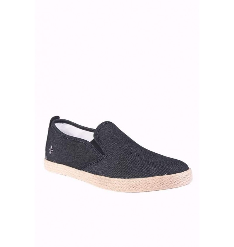 Espadrille Slip On Denim Noir ALBERT801-N - BLACK SAINTS