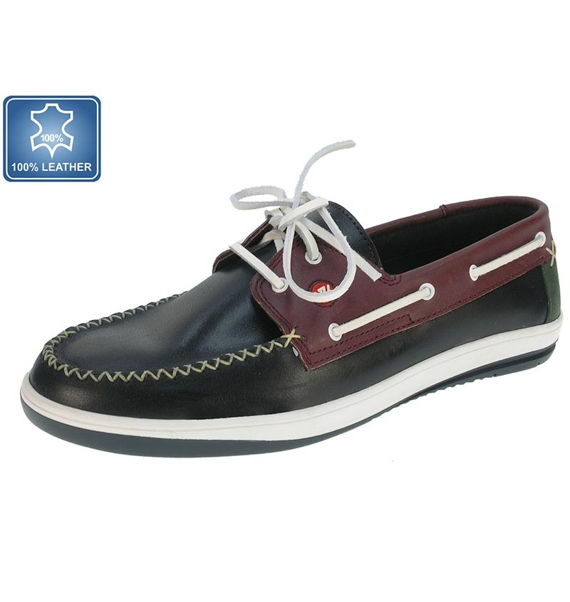 Chaussures Bateau Marine Cuir 13B2163870 - WAY