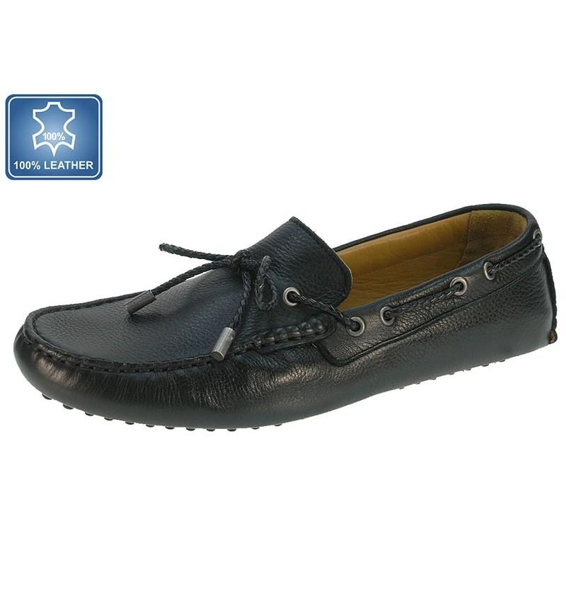 Mocassins Noir En Cuir 13B2163780 - WAY