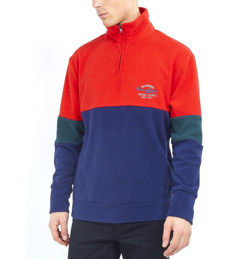 Sweat Polaire Tricolor 1/2 Zip BS1 MSS-248FLYNN - BRAVE SOUL